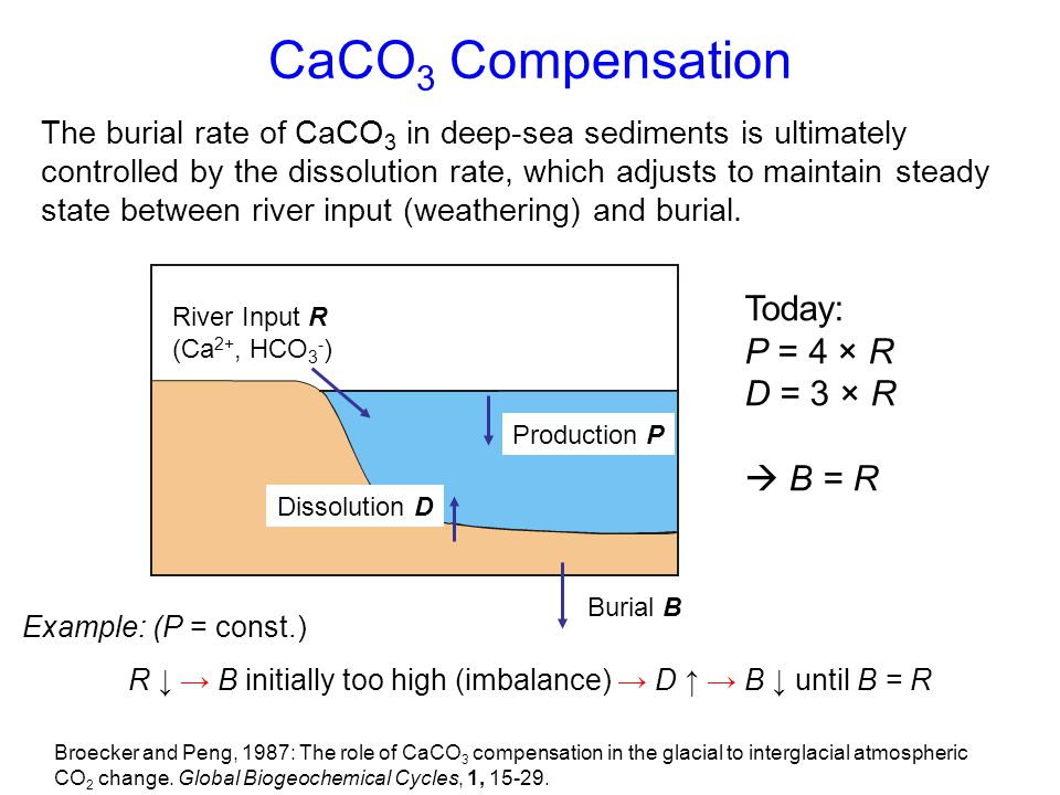 CaCO3 Compensation Today: P = 4 × R D = 3 × R  B = R