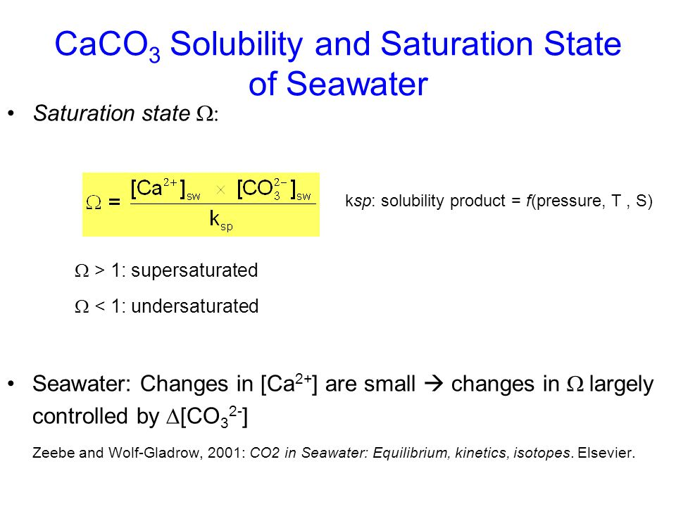 CaCO3 Solubility and Saturation State of Seawater