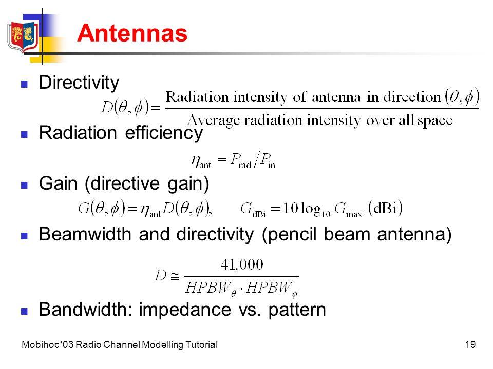 Antennas Directivity Radiation efficiency Gain (directive gain)