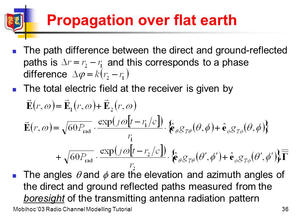 Propagation over flat earth