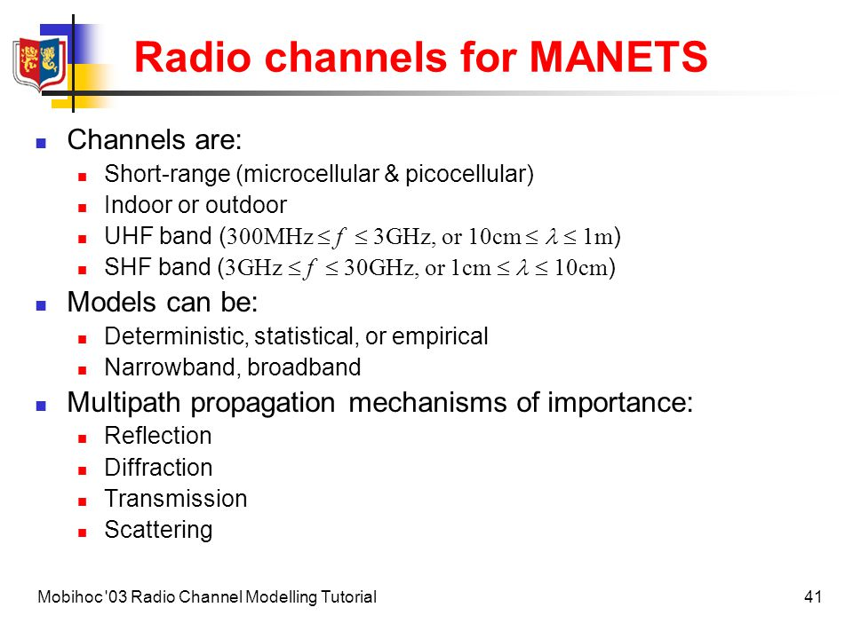 Radio channels for MANETS