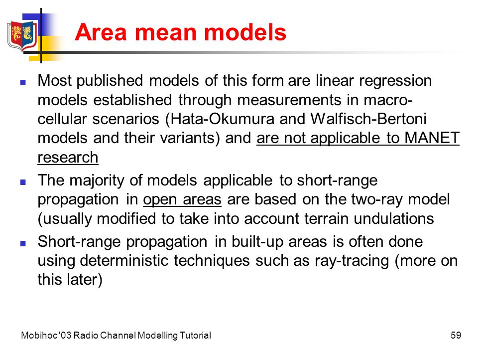 Area mean models