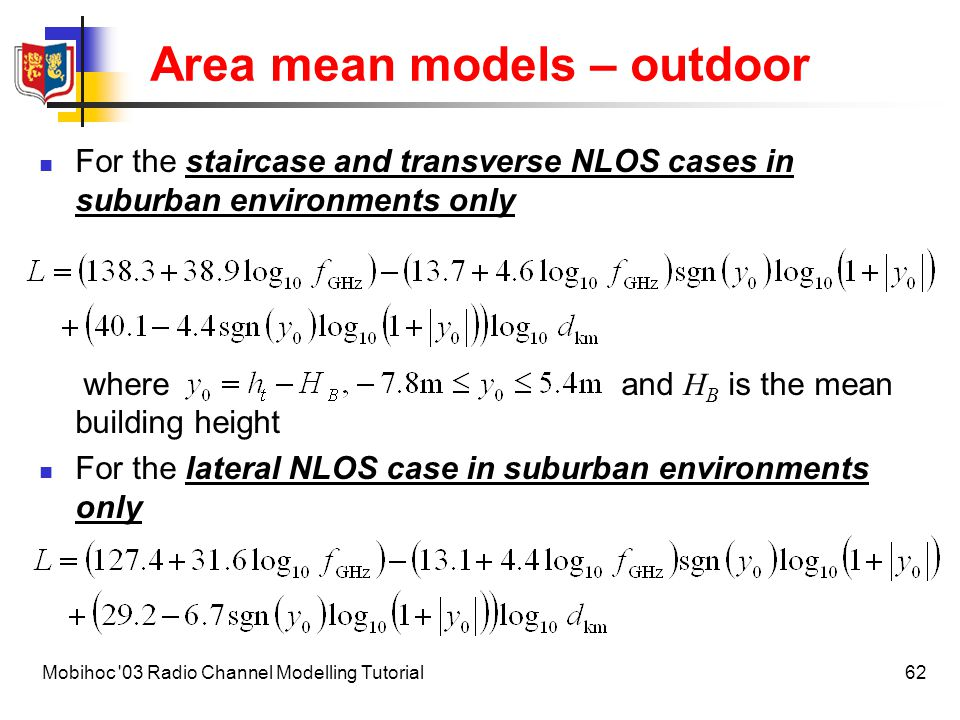 Area mean models – outdoor