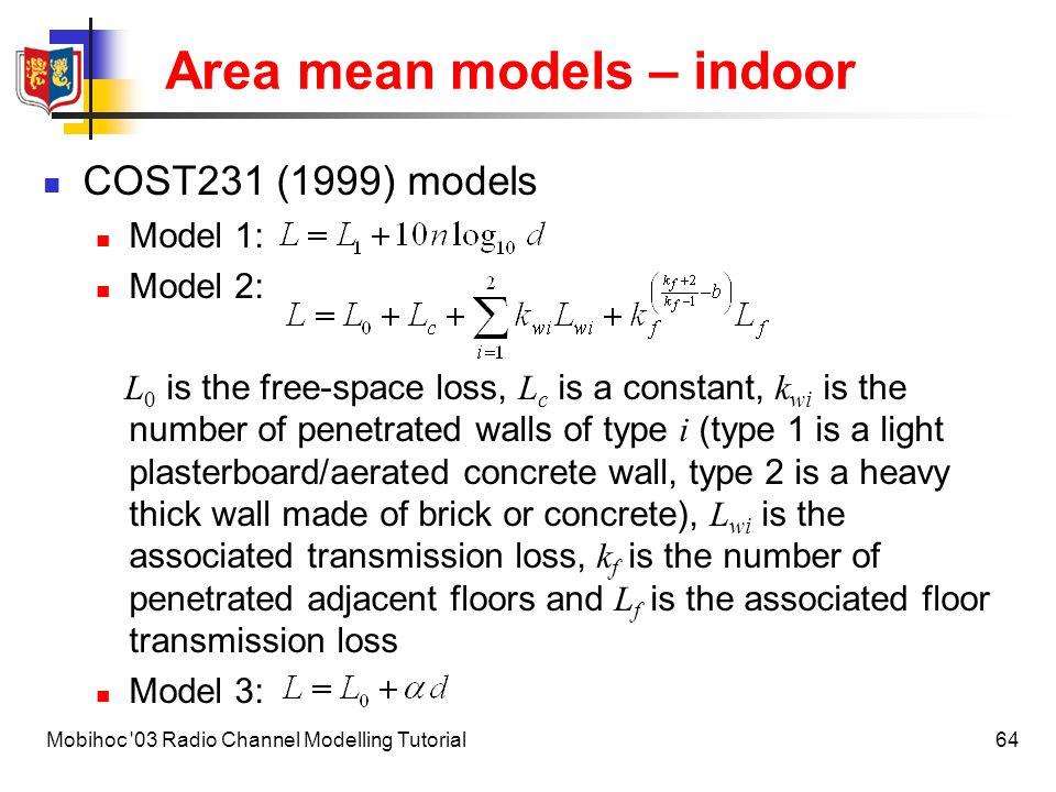 Area mean models – indoor