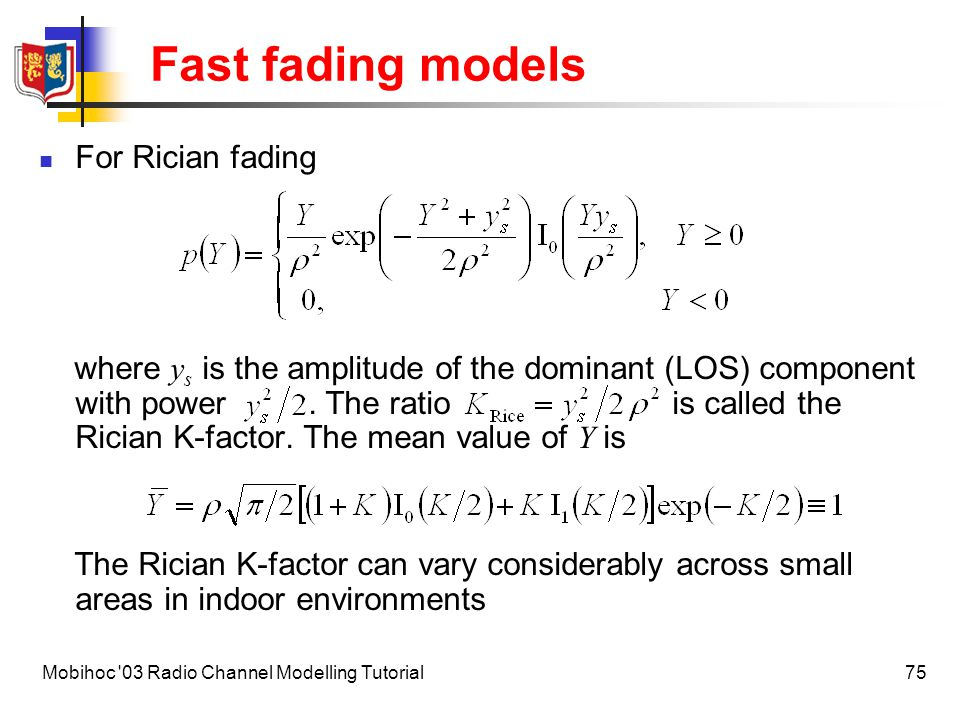 Fast fading models For Rician fading