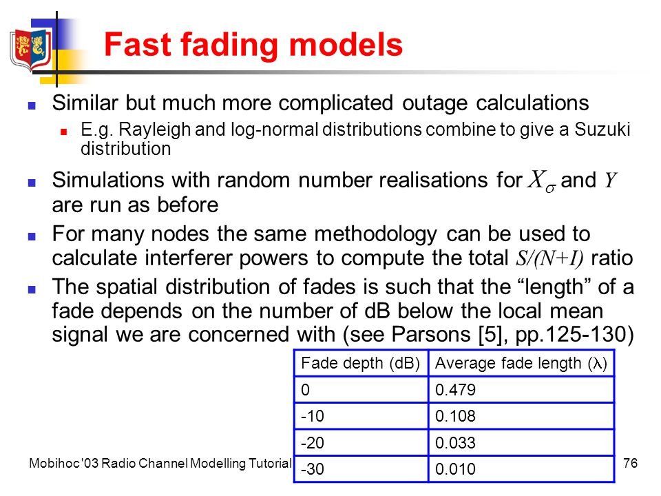 Fast fading models Similar but much more complicated outage calculations.