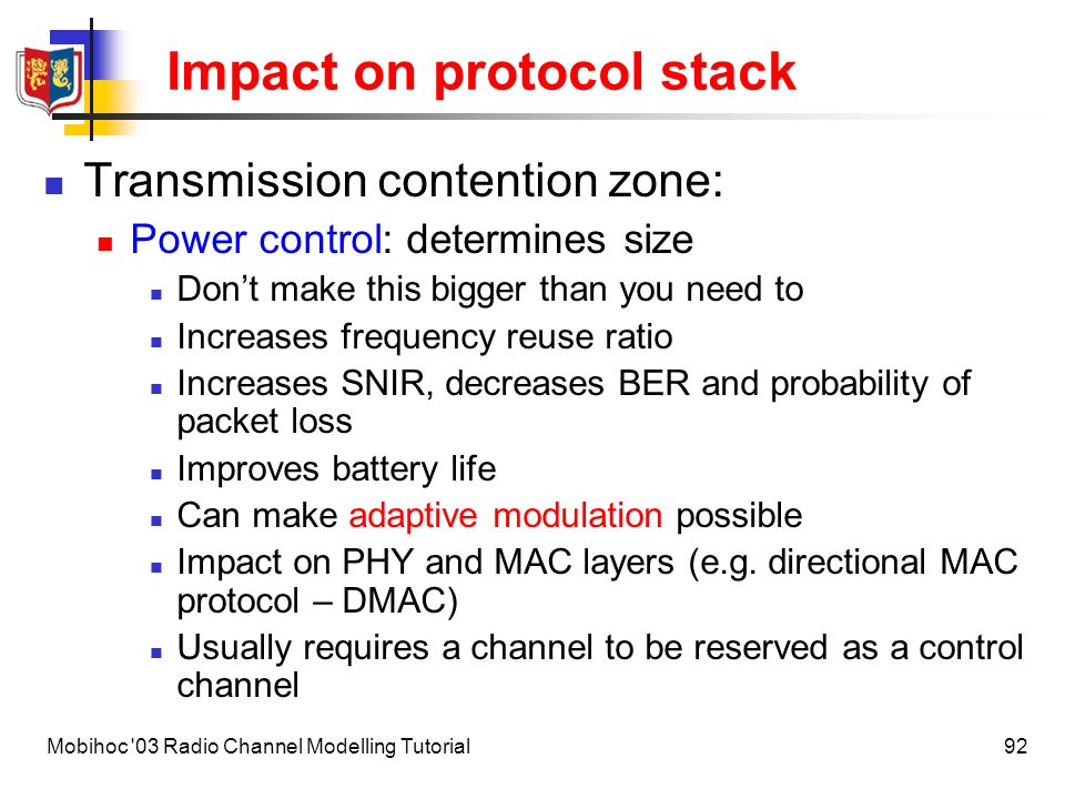 Impact on protocol stack