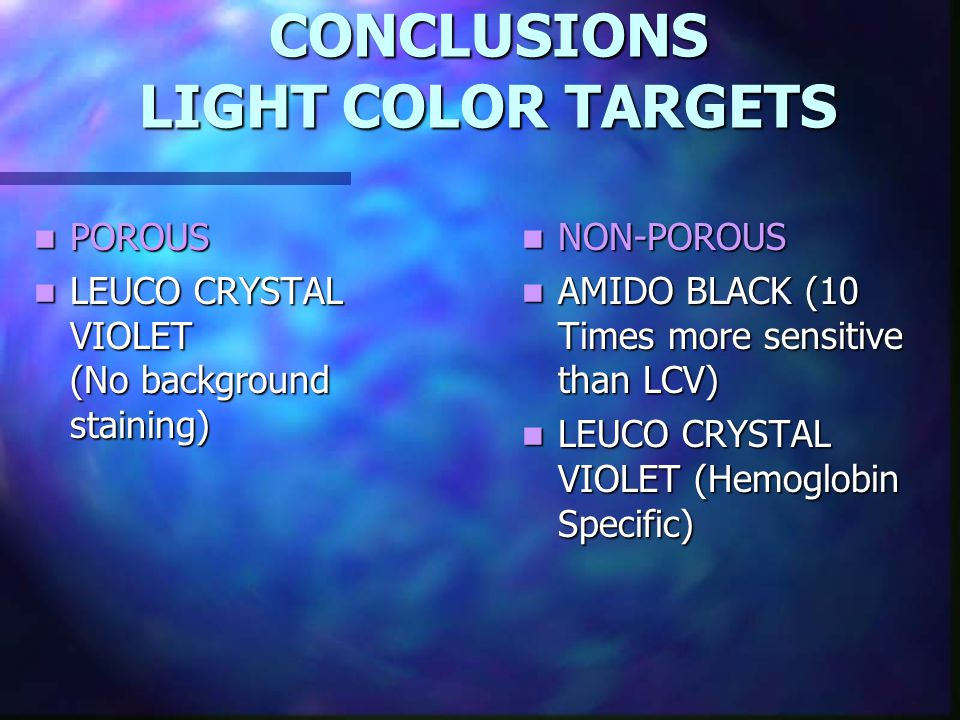 CONCLUSIONS LIGHT COLOR TARGETS