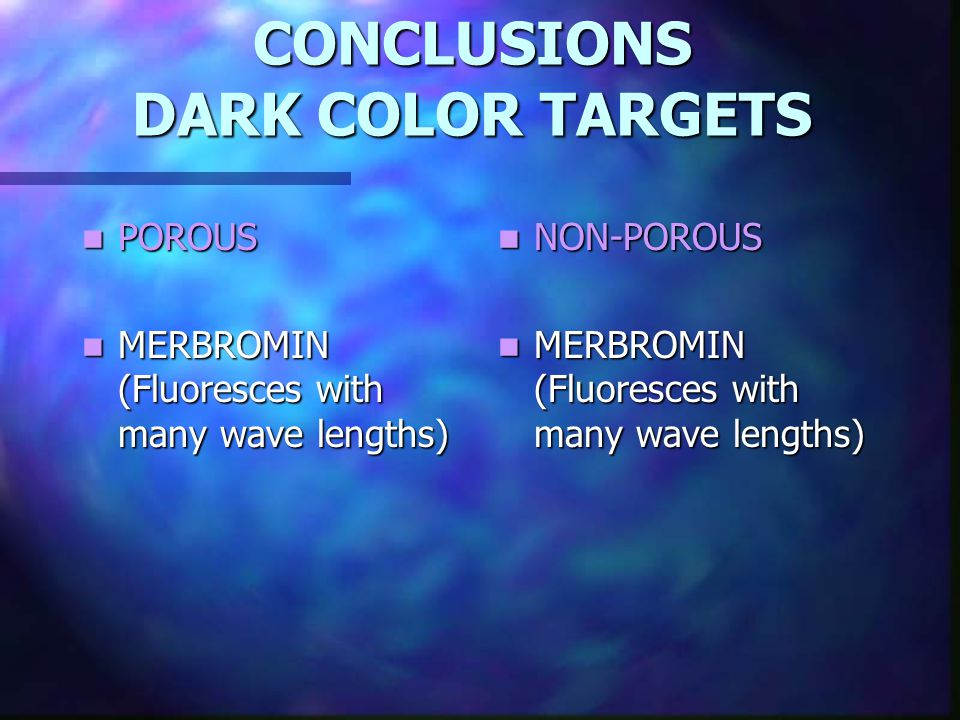 CONCLUSIONS DARK COLOR TARGETS