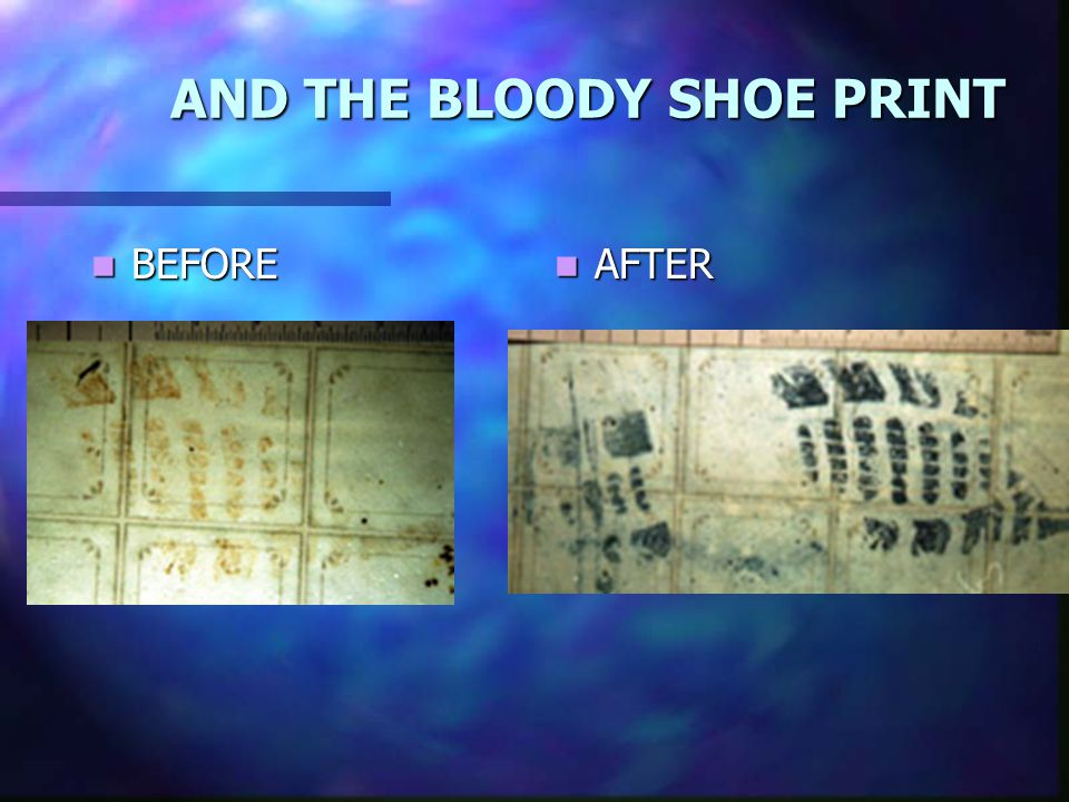 AND THE BLOODY SHOE PRINT