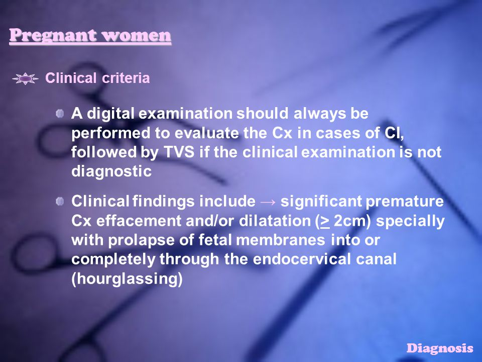 Pregnant women Clinical criteria.