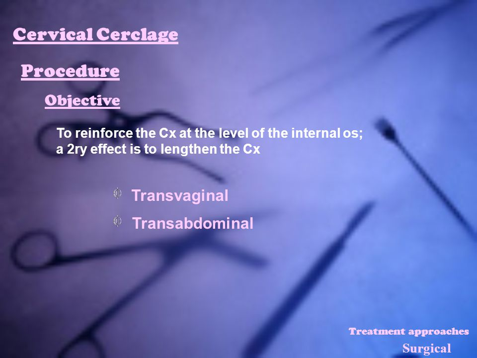 Cervical Cerclage Procedure Objective Transvaginal Transabdominal
