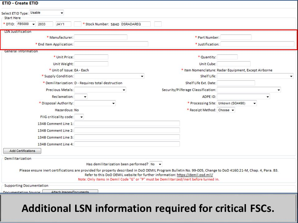 Additional LSN information required for critical FSCs.