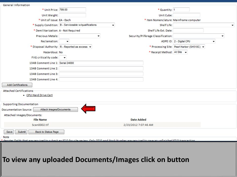To view any uploaded Documents/Images click on button