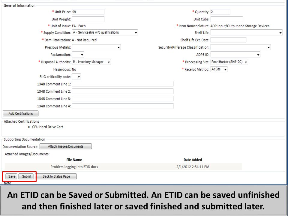 In addition to submitting ETIDs, customers can now save an ETID.