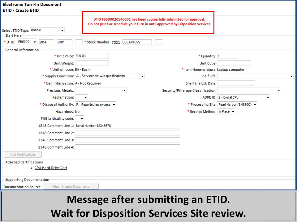 Message after submitting an ETID.