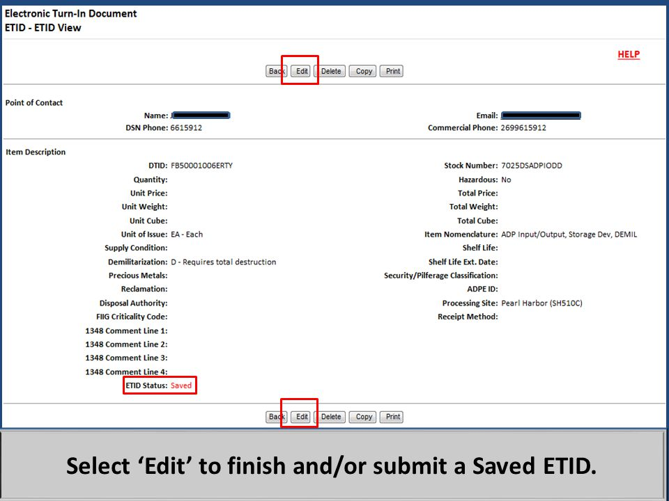 Select 'Edit' to finish and/or submit a Saved ETID.