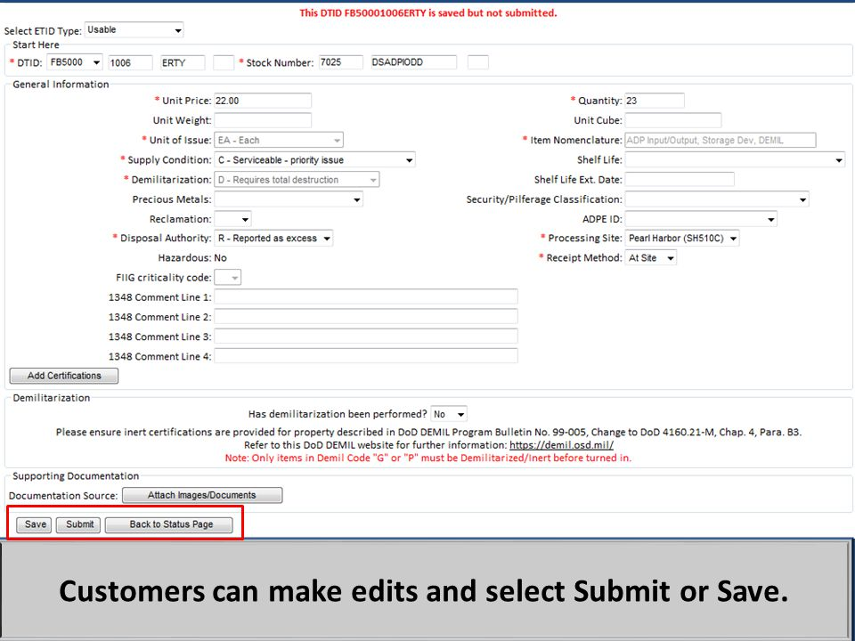 Customers can make edits and select Submit or Save.
