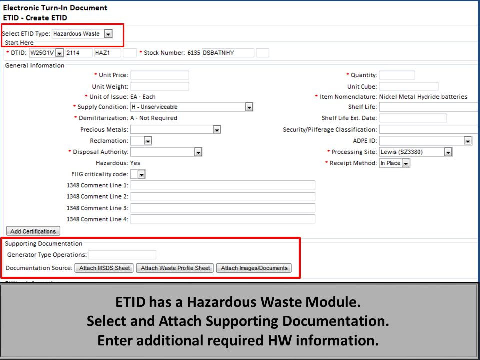 ETID has a Hazardous Waste Module.
