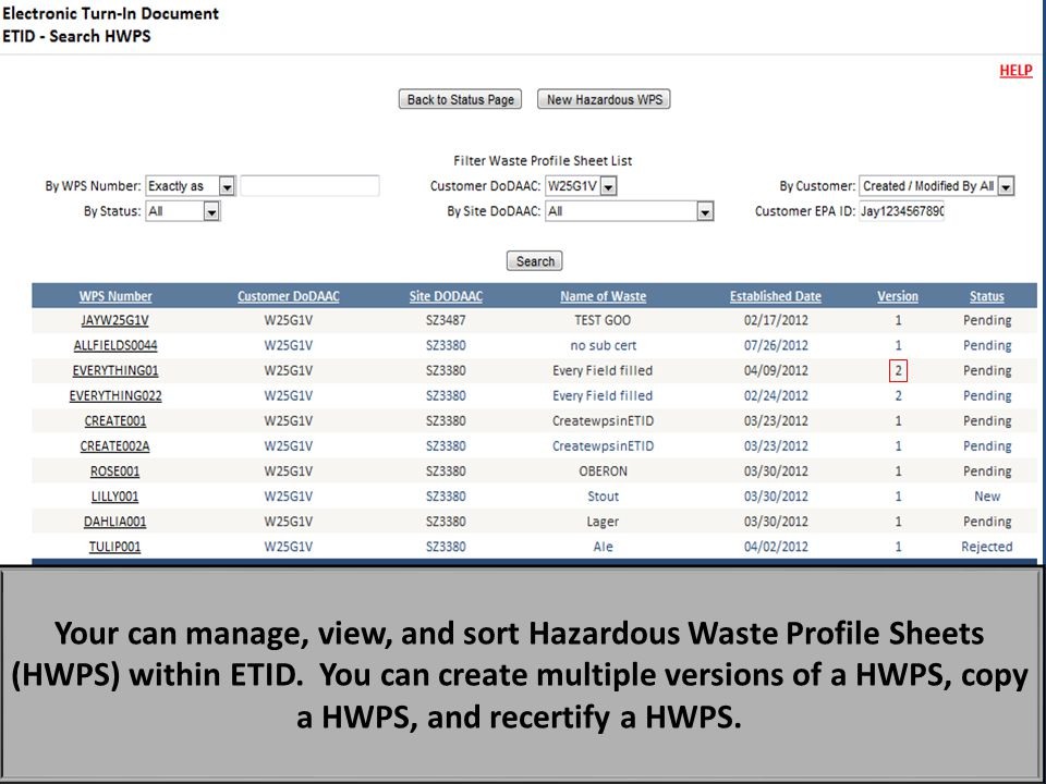 If you click on the View Hazardous Waste Profile List Button in the hazardous waste module, you can sort and then view hazardous waste profile sheets created in ETID. When viewing a hazardous waste profile sheet you can then edit or copy a profile sheet.