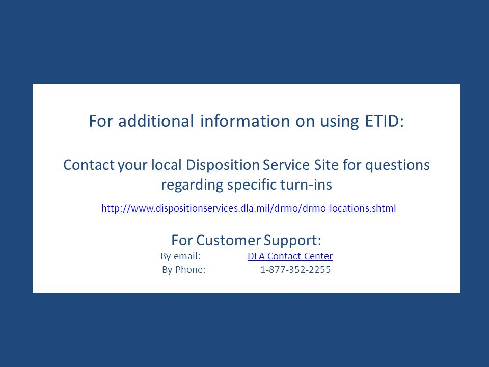For additional information on using ETID: