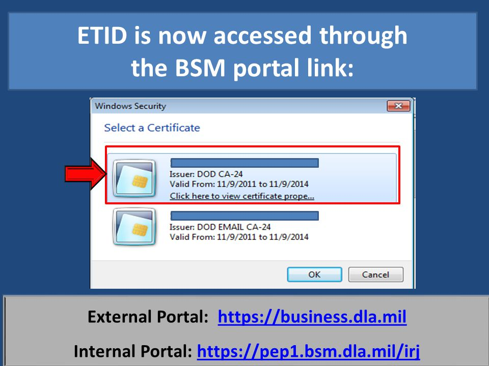 ETID is now accessed through the BSM portal link: