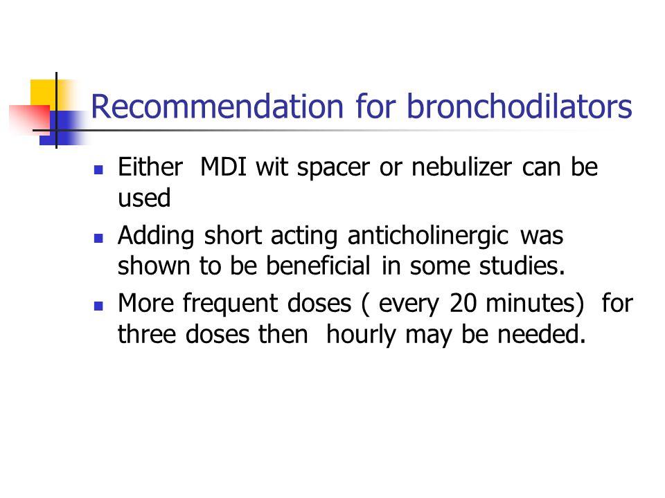 Recommendation for bronchodilators