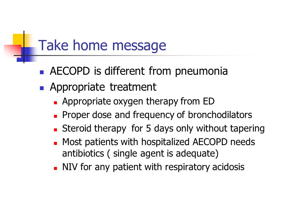 Take home message AECOPD is different from pneumonia