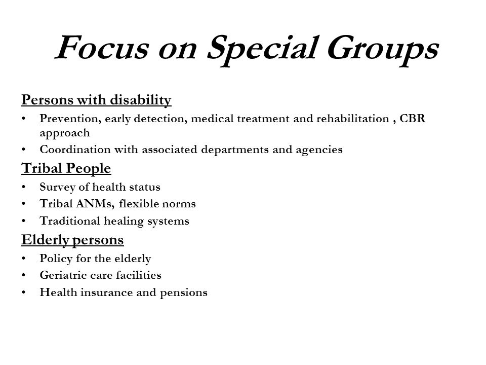 Focus on Special Groups