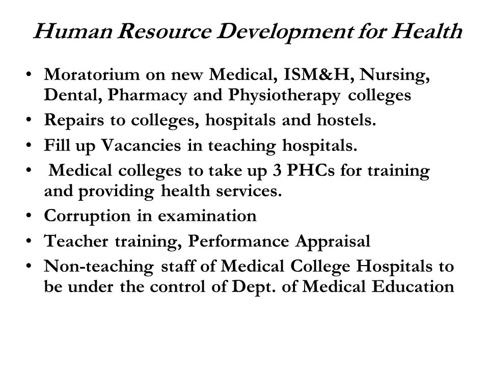 Human Resource Development for Health