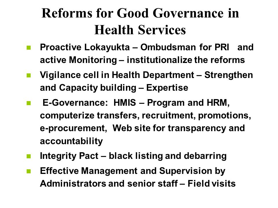 Reforms for Good Governance in