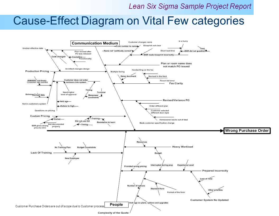 Cause-Effect Diagram on Vital Few categories