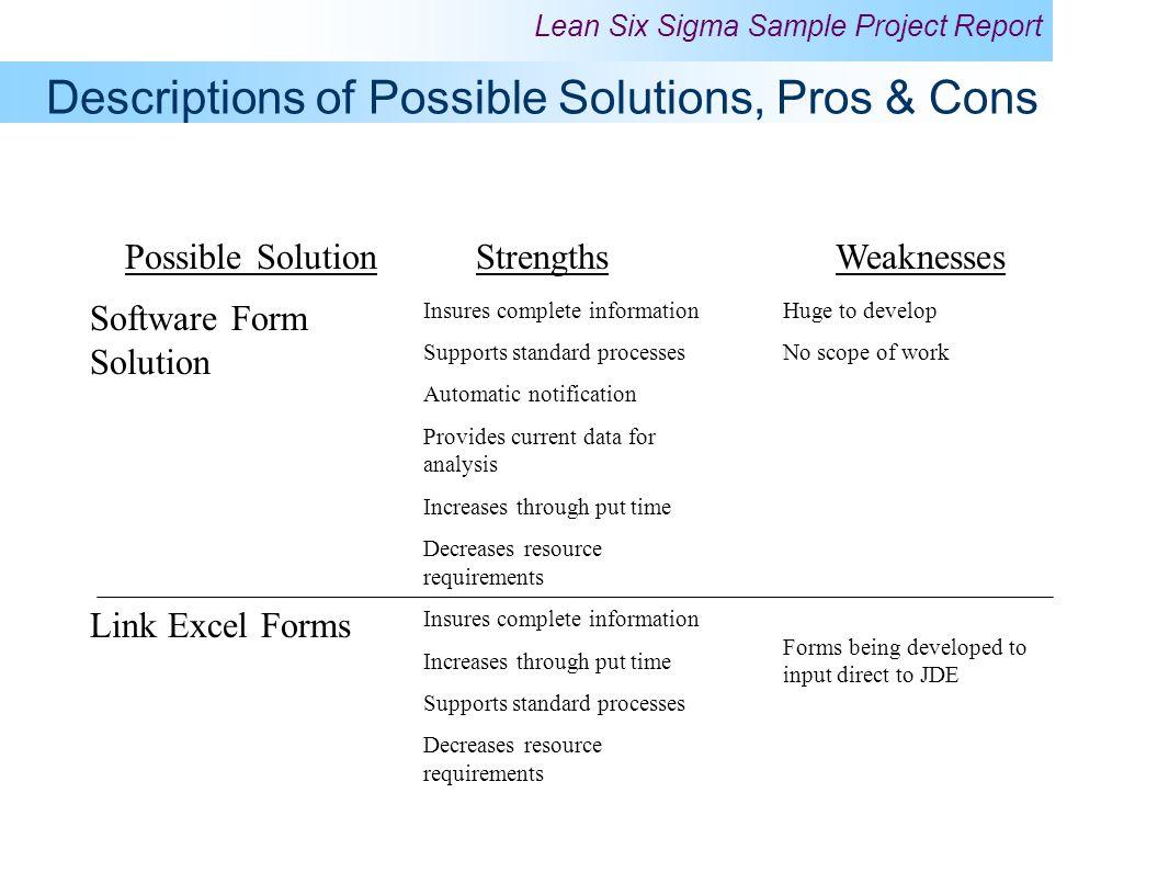 Descriptions of Possible Solutions, Pros & Cons