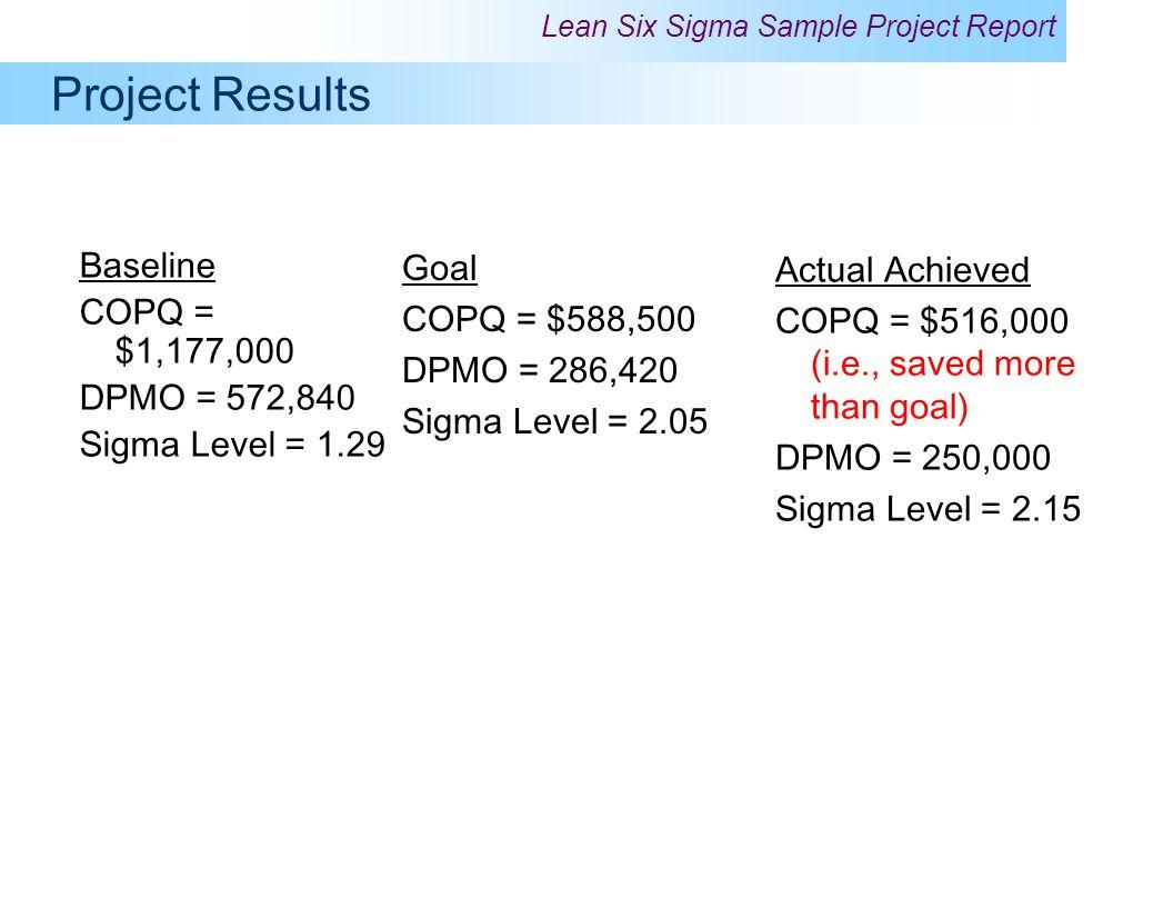 Project Results Baseline COPQ = $1,177,000 DPMO = 572,840