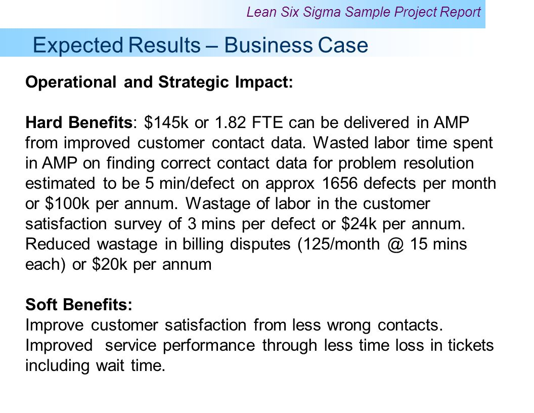 Expected Results – Business Case