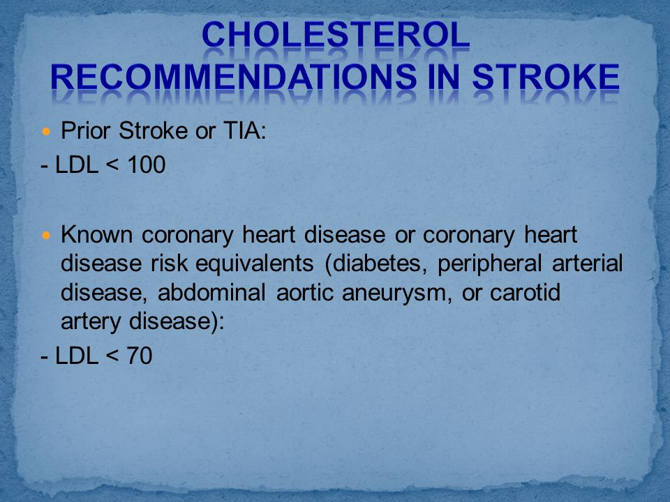 Cholesterol Recommendations in Stroke