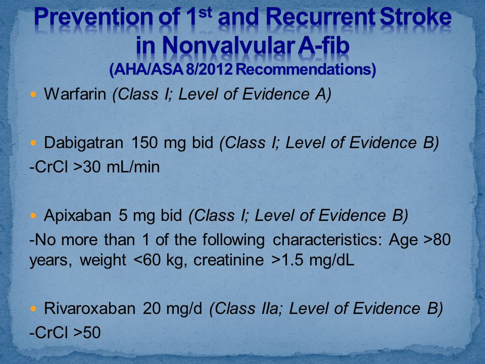Prevention of 1st and Recurrent Stroke in Nonvalvular A-fib (AHA/ASA 8/2012 Recommendations)