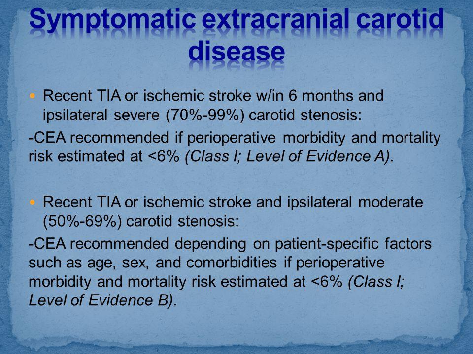 Symptomatic extracranial carotid disease