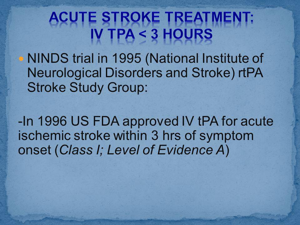 Acute Stroke Treatment: IV tPA < 3 hours