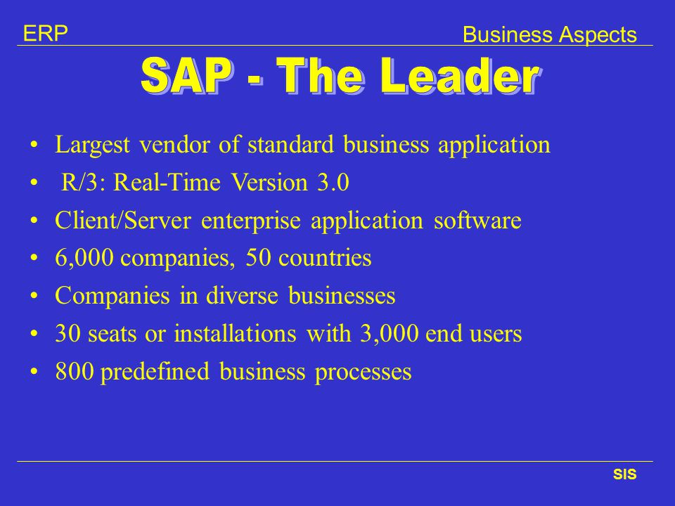 Largest vendor of standard business application