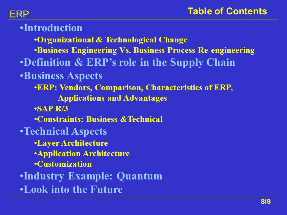 Definition & ERP's role in the Supply Chain Business Aspects