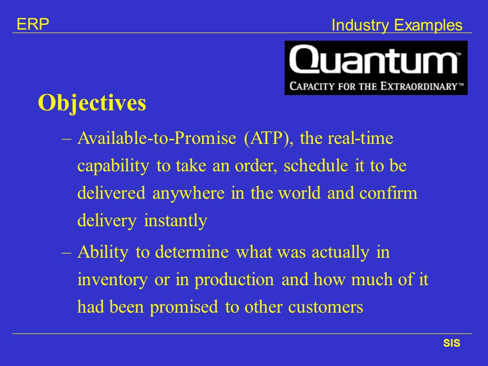 Industry Examples Objectives.
