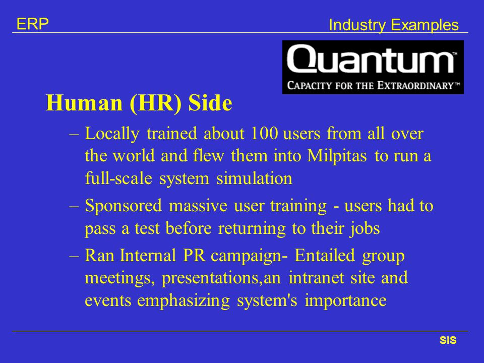 Industry Examples Human (HR) Side.