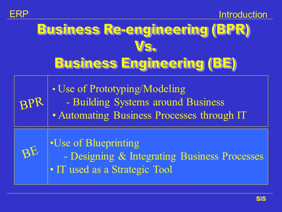 Business Re-engineering (BPR) Business Engineering (BE)