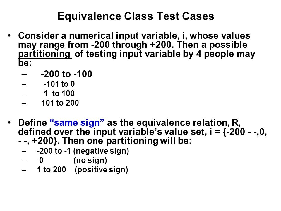 Equivalence Class Test Cases