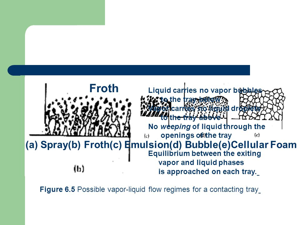 Froth (a) Spray(b) Froth(c) Emulsion(d) Bubble(e)Cellular Foam