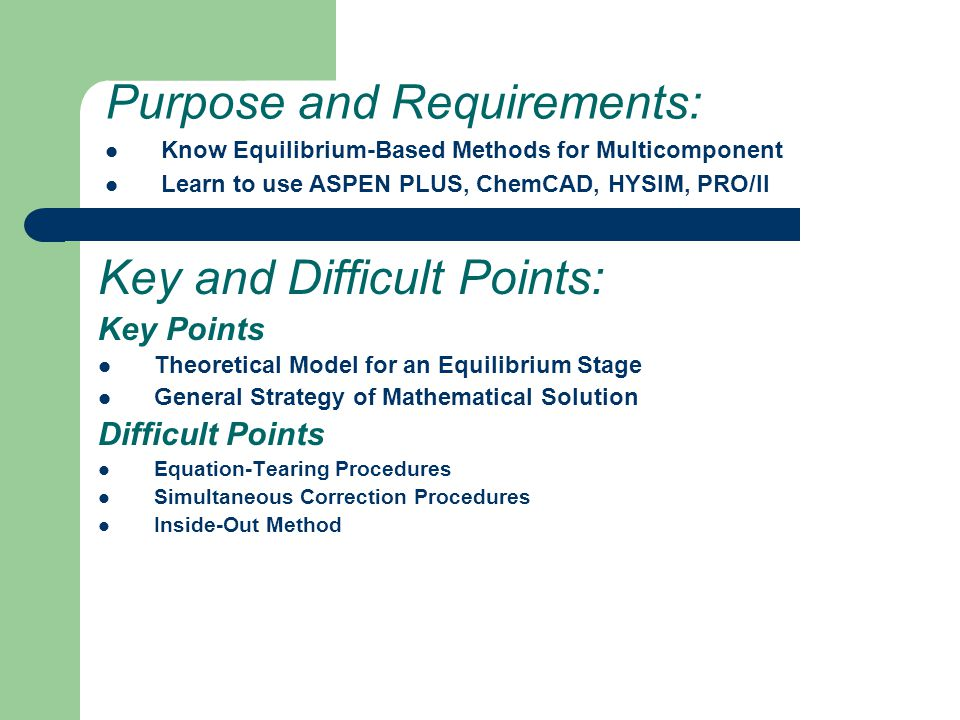 Purpose and Requirements: