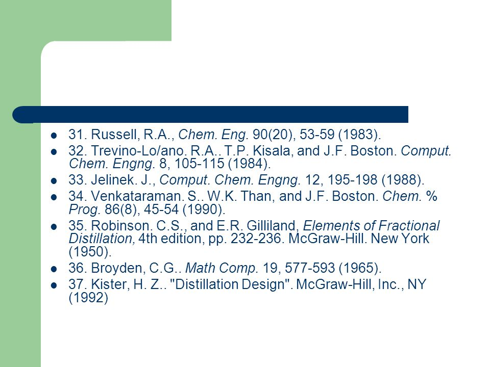 31. Russell, R.A., Chem. Eng. 90(20), 53-59 (1983).