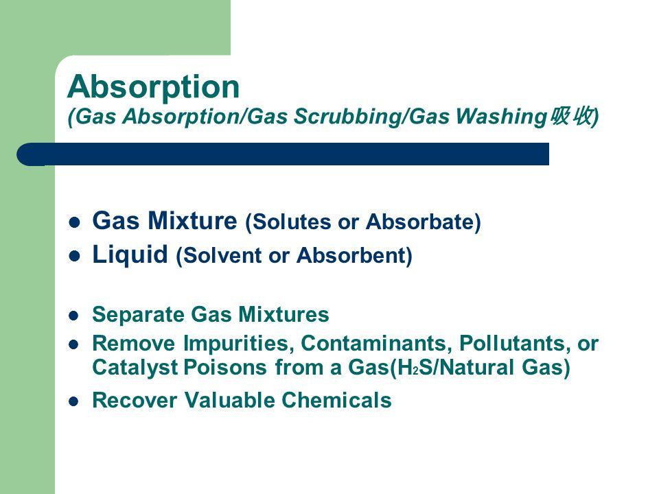 Absorption (Gas Absorption/Gas Scrubbing/Gas Washing吸收)