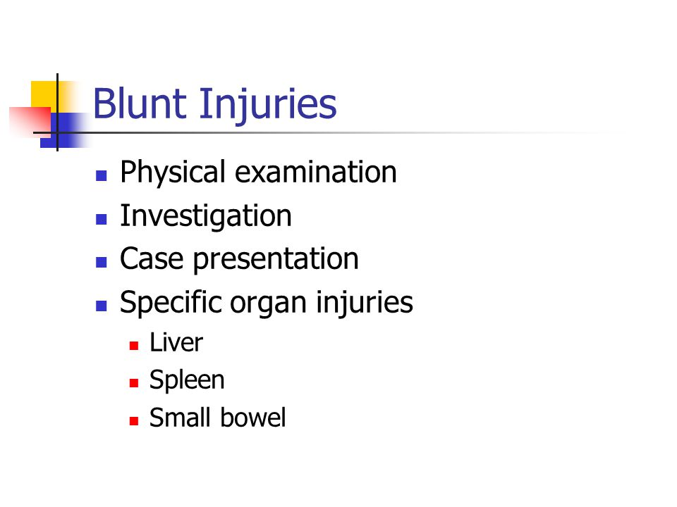 Blunt Injuries Physical examination Investigation Case presentation